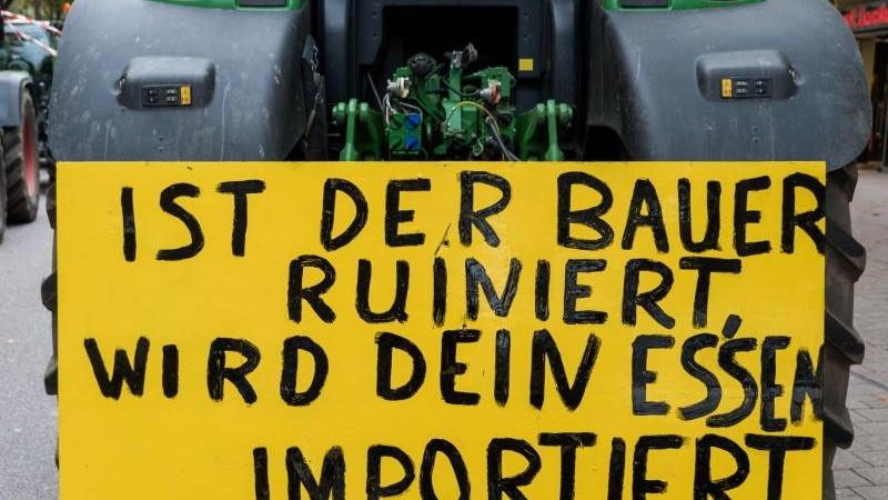 Bauern demonstrieren mit 1400 Treckern in Kiel und Heide