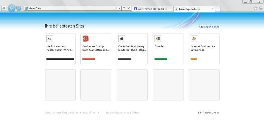 Internet Explorer neue Registrierkarte