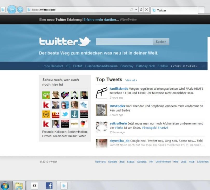 Internet Explorer Taskleiste