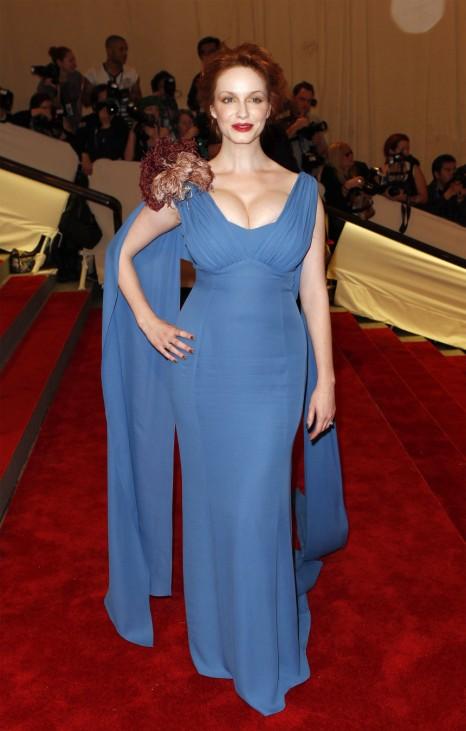 Actress Hendricks arrives at the Metropolitan Museum of Art Costume Institute Benefit in New York