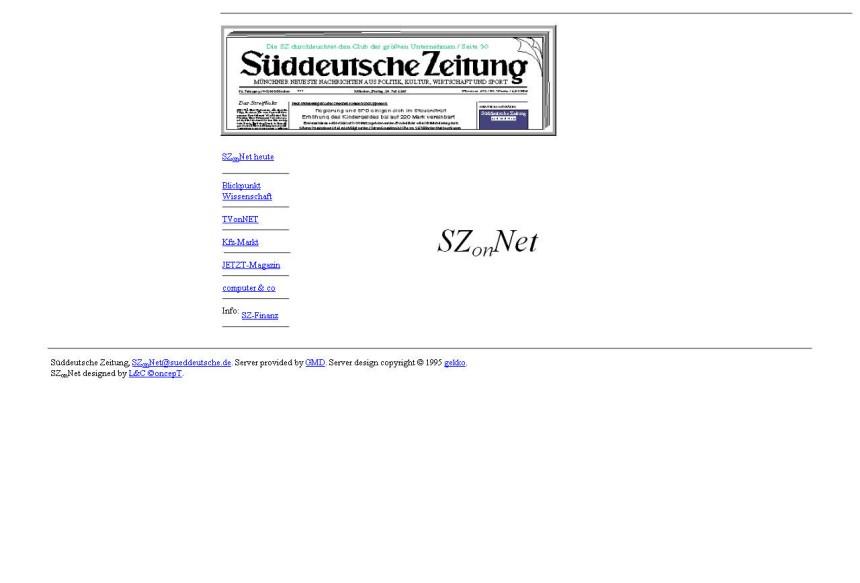 Screenshot sueddeutsche.de 1996
