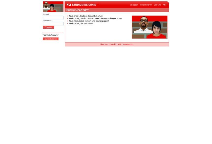 Screenshot StudiVZ 2005