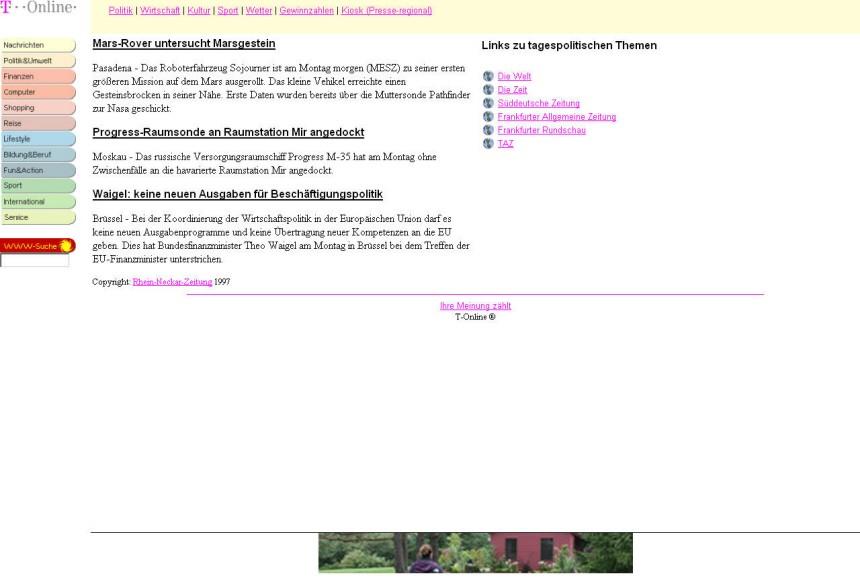 Screenshot t-online 1997