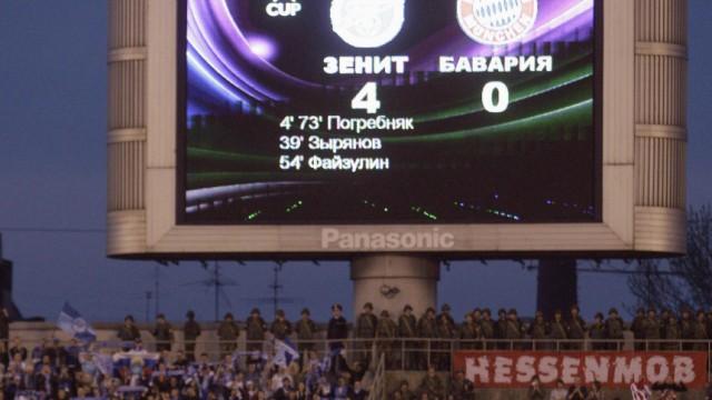 Bayern Munich's Schweinsteiger reacts after the UEFA Cup soccer match against Zenit St. Petersburg in St. Petersburg