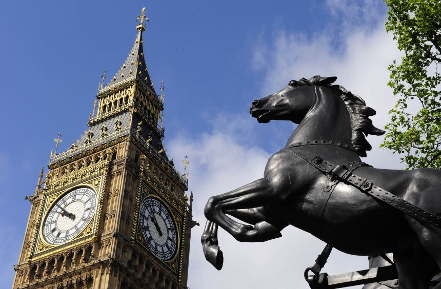 The Big Ben clock tower at the Houses of Parliament is seen in central London