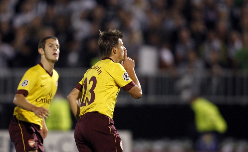Arsenal's Arshavin celebrates after scoring against Partizan Belgrade during their Champions League Group H soccer match in Belgrade