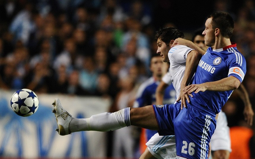 Chelsea's Terry challenges Olympique Marseille's Gonzalez during their Champions League soccer match in London
