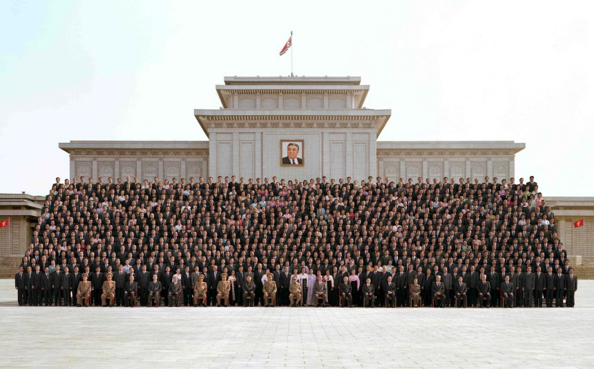 Kim Jong-un, the youngest son of North Korea's leader Kim Jong-il (C), poses in Pyongyang
