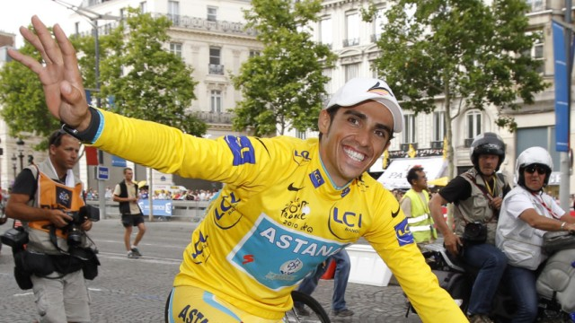 File photo of Astana team rider Alberto Contador of Spain after winning the 97th Tour de France cycling race in Paris