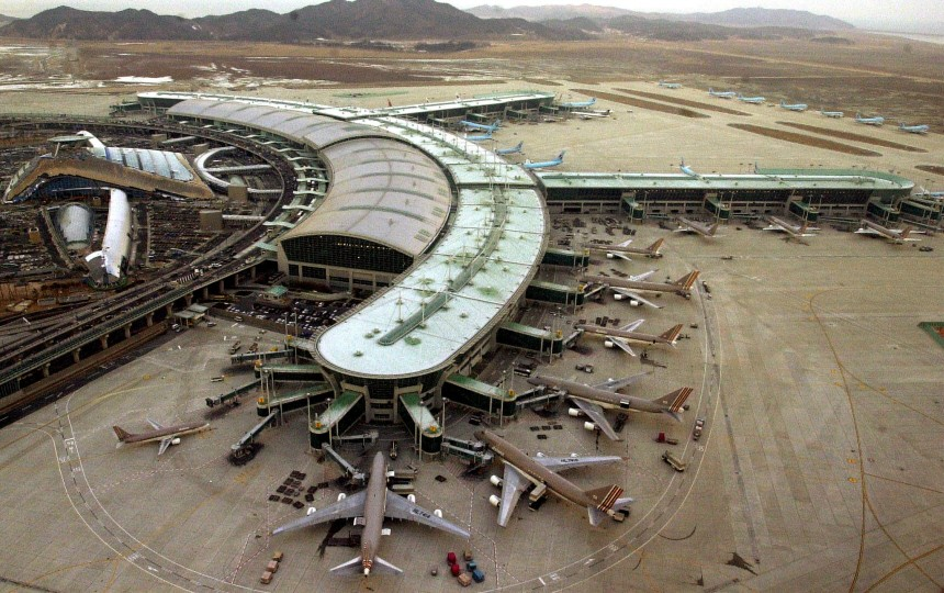 AERIAL PHOTO OF THE INCHEON AIRPORT IN SOUTH KOREA