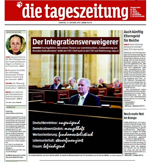 Screenshot taz Seehofer