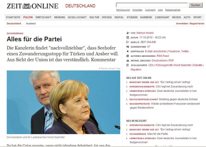 Screenshot zeit Seehofer
