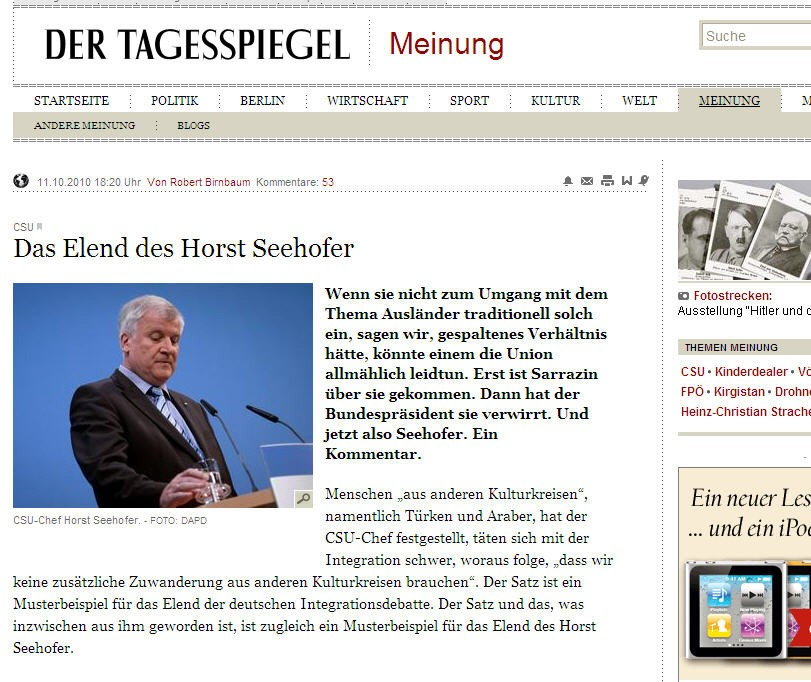 Screenshot tagesspiegel Seehofer