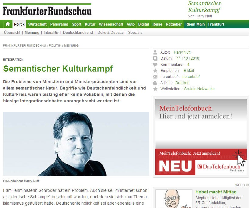 Screenshot frankfurter rundschau Seehofer