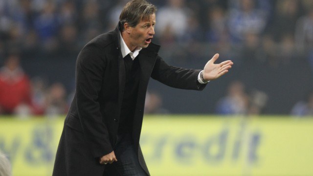 VfB Stuttgart's coach Keller gestures during their German Bundesliga first division soccer match in Gelsenkirchen