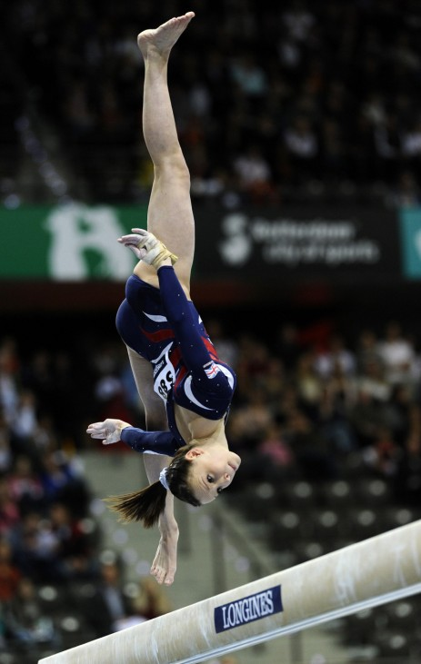 Whelan of Britain performs on the beam during the women's team final of the Artistic Gymnastics World Championships in Rotterdam