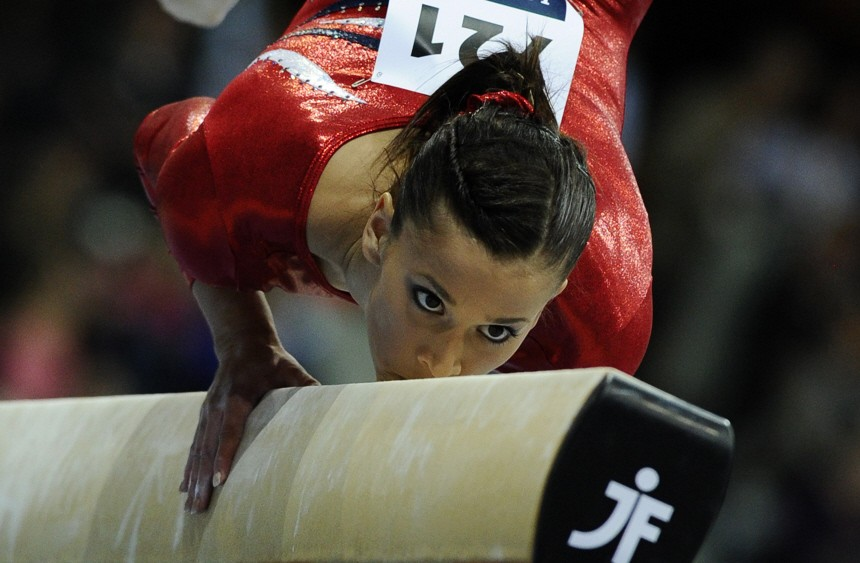 Sacramone of the U.S. performs on the beam during the women's team final of the Artistic Gymnastics World Championships in Rotterdam