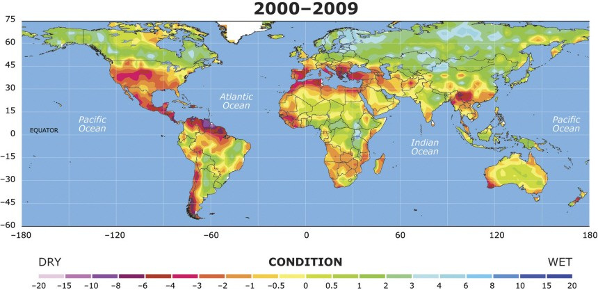 Handout image of a map showing the drought conditions between 2000 and 2009 for a study by National Center for Atmospheric Research