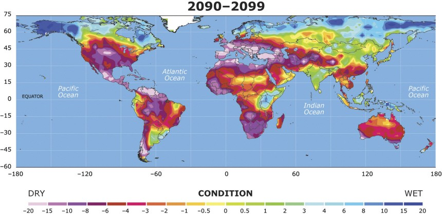 Handout image of a map showing the extent to which drought conditions may increase  between 2030 and 2039, in a study by National Center for Atmospheric Research