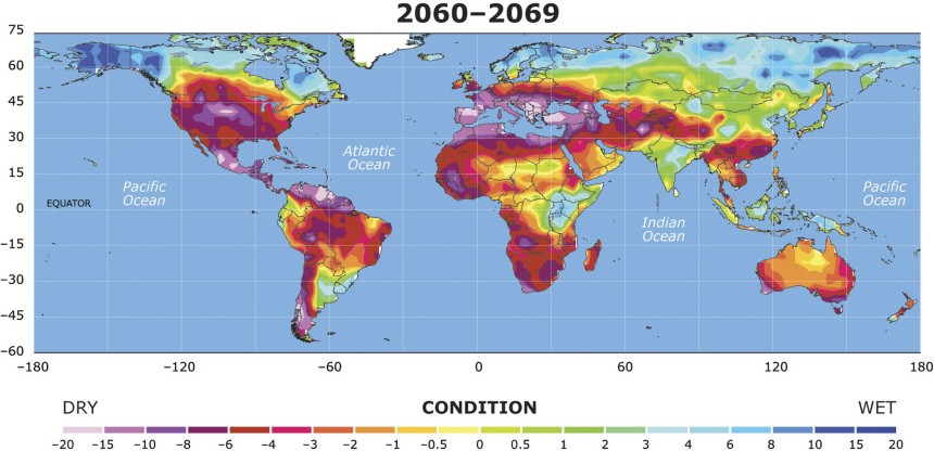 Handout image of a map showing the extent to which drought conditions may increase  between 2060 and 2069, in a study by National Center for Atmospheric Research