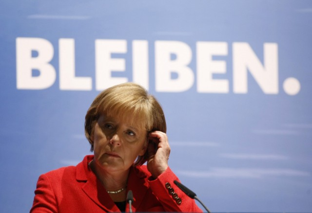 German Chancellor Merkel gestures during a election campaign in the western town of Soest