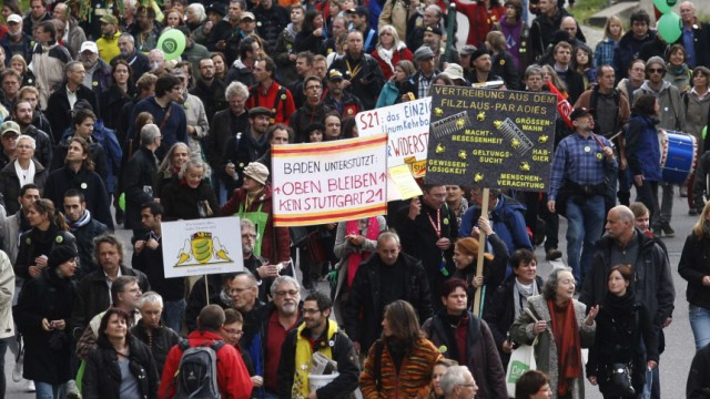 Demonstrators protest in Stuttgart October 23