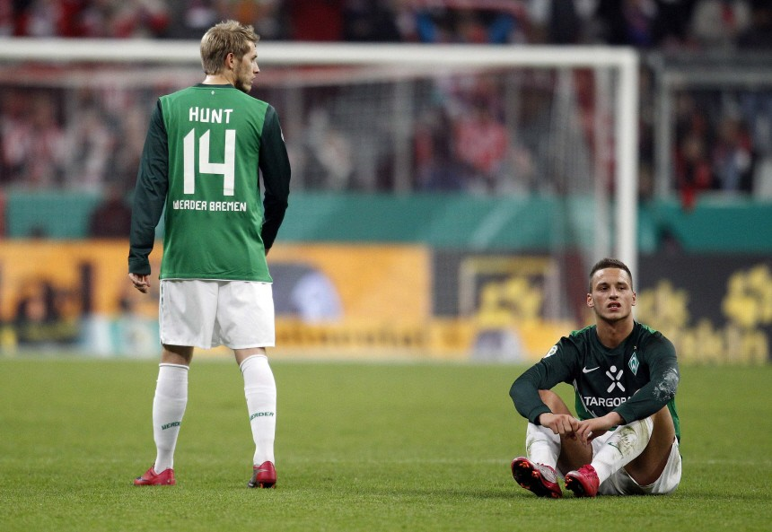Werder Bremen's Hunt and Arnautovic react after their German Soccer Cup (DFB-Pokal) match in Munich