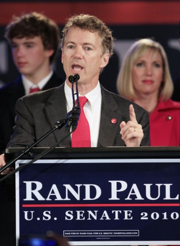 Kentucky Republican U.S. Senate candidate and Tea Party favorite Rand Paul addresses supporters in Bowling Green