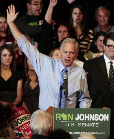 Winning U.S. Senate Republican candidate Ron Johnson speaks to supporters during an election night party in Oshkosh, Wisconsin
