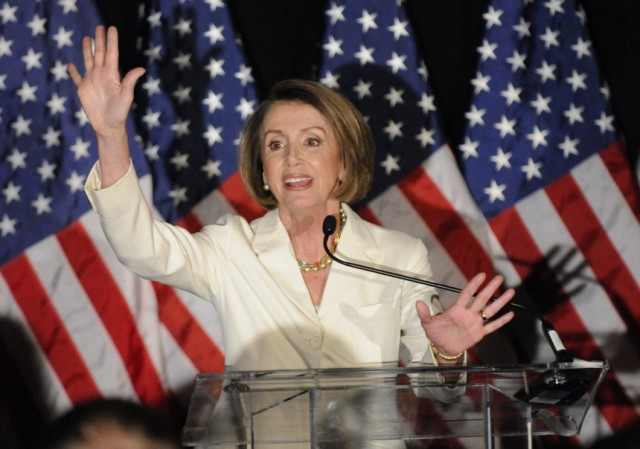 U.S. House Speaker Pelosi hosts a Democratic congressional election night results watch rally, in Washington
