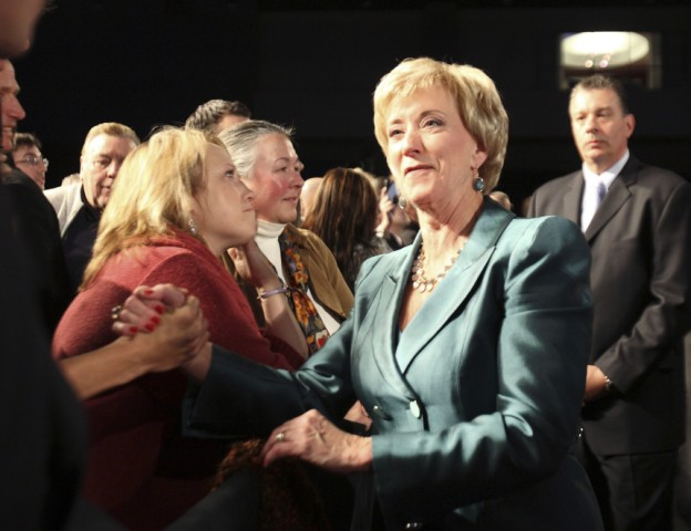 U.S. Senate Republican candidate Linda McMahon of Connecticut thanks supporteres after delivering her concession speech after Democratic state attorney general Richard Blumenthal defeated her, during her election night rally in Hartford, Connecticut
