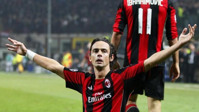 Champions League: AC Mailand: 37 Jahre alt und immer noch Mister Superpippo: Filippo Inzaghi nach seinem ersten Tor gegen Real Madrid.