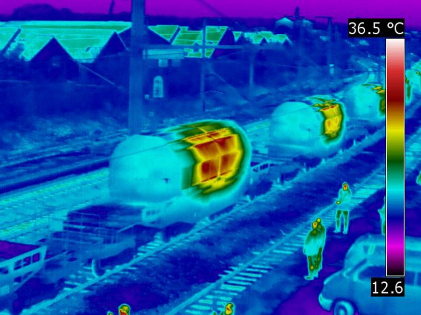 Thermografische Bilder des Castor-Transportes