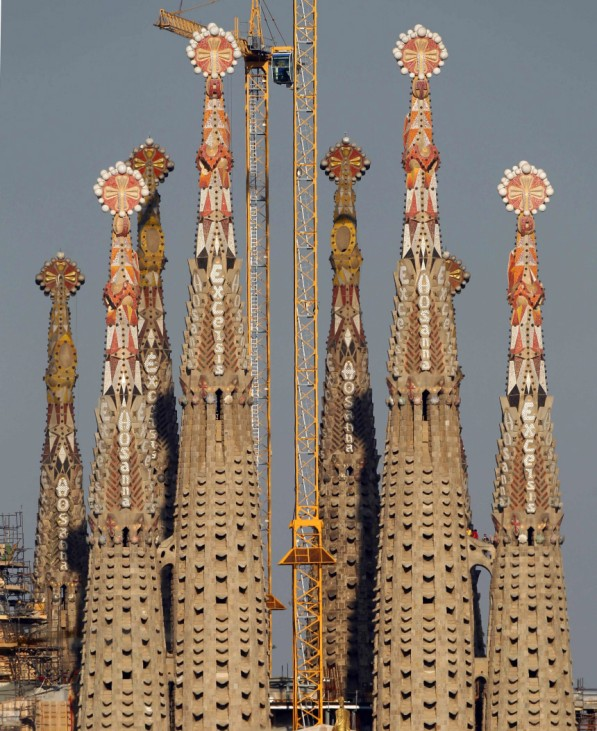 People visit the pinnacles of the Sagrada Familia temple in Barcelona