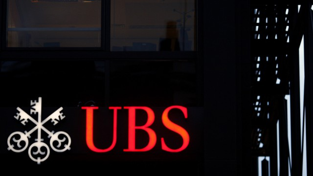 The logo of Swiss bank UBS AG is pictured at one of its buildings in central London
