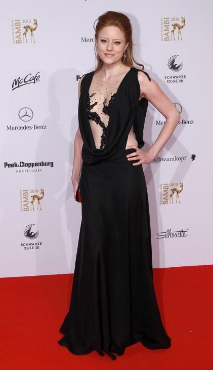 German model Meier arrives on red carpet for 62nd Bambi media awards ceremony in Potsdam