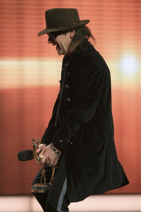 German rock musician Lindenberg celebrates after receiving Bambi award for Lifetime Achievement during 62nd Bambi media awards ceremony in Potsdam