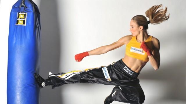 Kickboxen, Christine Theiss, mit Mladen Steko und dem Münchner Besim Kabashi.