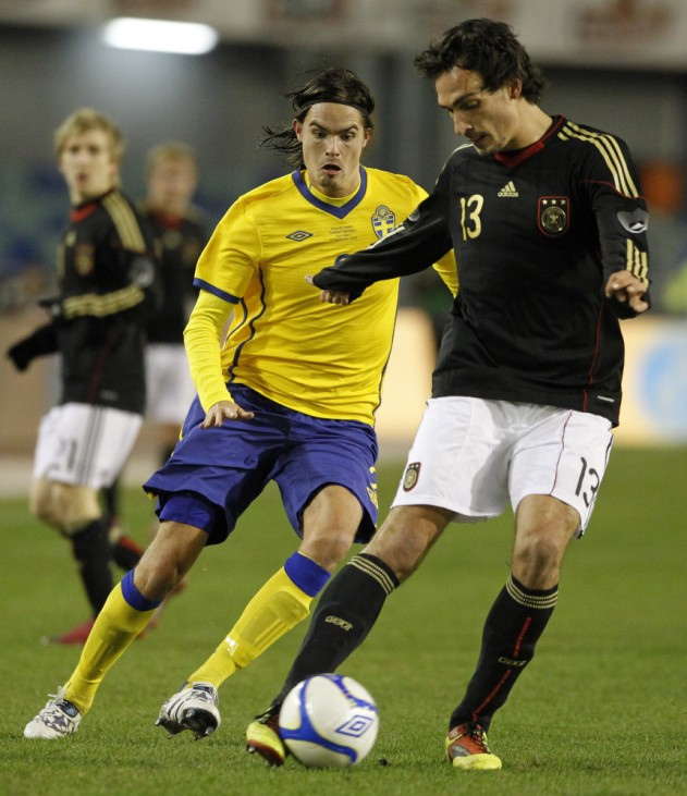 Germany's Hummels fights for the ball with Sweden's Lustig during their international friendly soccer match at Ullevi Stadium in Gothenburg