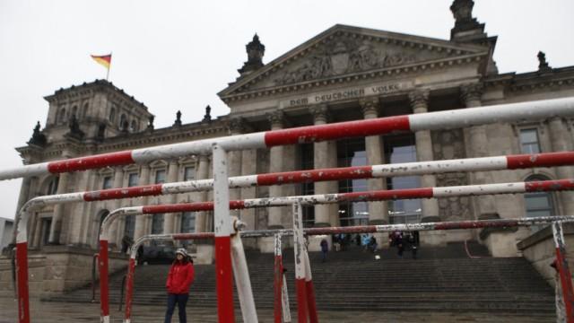 A barrier surrounds Reichstag building in Berlin