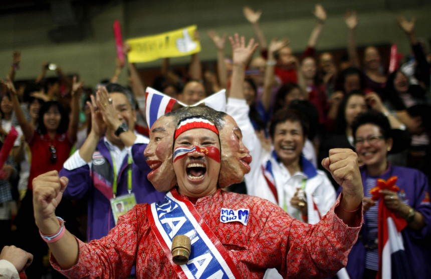 Thailand's fans celebrate sepak takraw win at the 16th Asian Games in Guangzhou