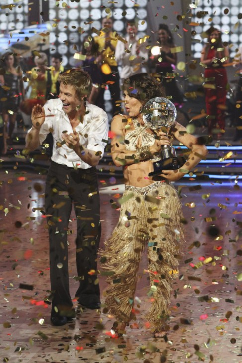 Hough and Grey celebrate after being named champions of 'Dancing with the Stars' in Hollywood