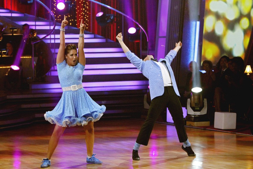 Bristol Palin and her professional dance partner Mark Ballas are shown as they perform during the ABC reality series 'Dancing with the Stars' finals in Hollywood