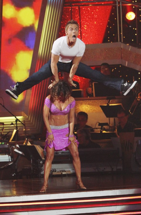 Professional dancer Derek Hough and his partner Jennifer Grey perform during the ABC reality series 'Dancing with the Stars' finals in Hollywood