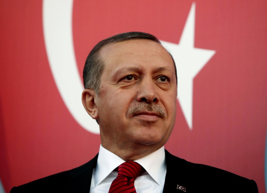 Turkey's Prime Minister Recep Tayyip Erdogan attends a rally to welcome him to Lebanon in al-Kouachra village, northern Lebanon