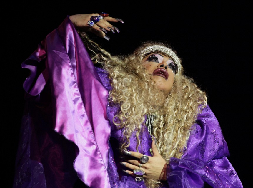 Drag queen 'Iman' performs during an AIDS awareness event sponsored by Cuba's National Center for Sex Education in Havana