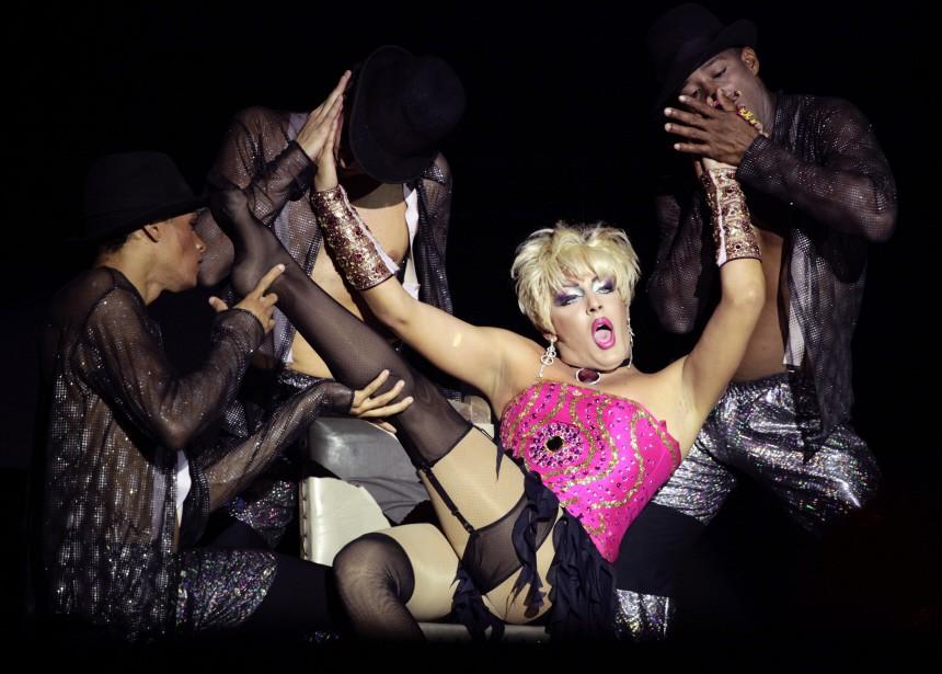 Drag queen 'Chantal' performs during an AIDS awareness event in Havana