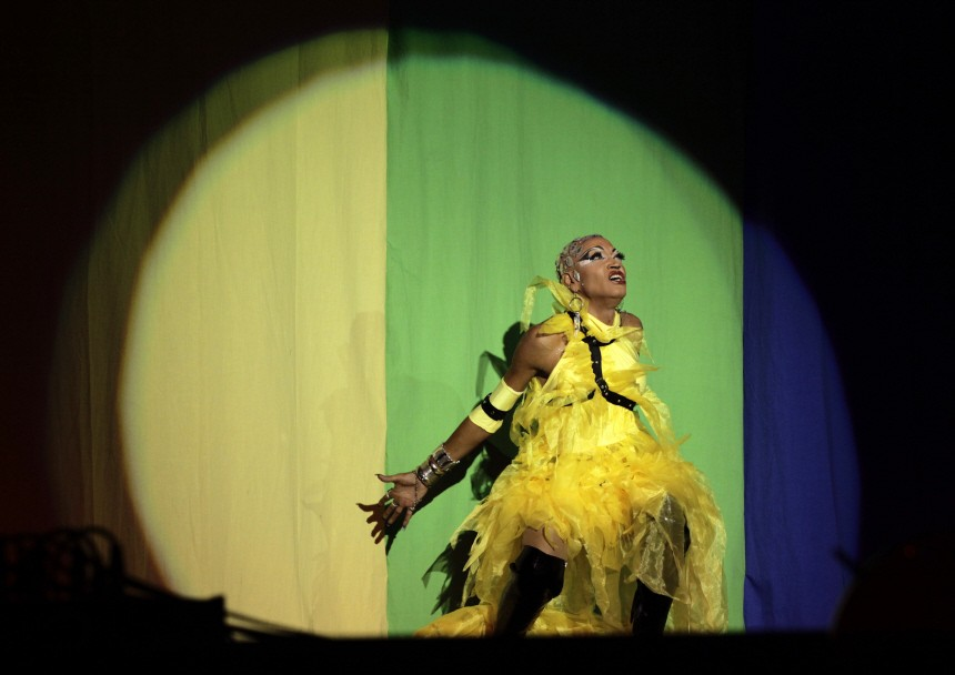 Drag queen 'Sajira' performs during an AIDS awareness event in Havana