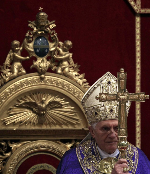 Pope Benedict XVI celebrates the First Vespers on the occasion of the first week of Advent in Saint Peter's Basilica at the Vatican