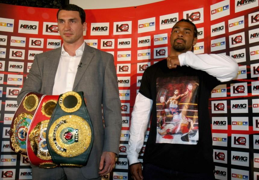 FILE - WBO World Heavyweight Championship Fight Between Klitschko and David Haye Cancelled